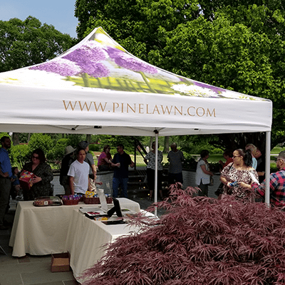Tent setup at 3rd annual arboretum tour