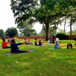 Group of people doing yoga in sitting pose on grass
